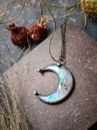 Clear small Moon pendant with irisation, crescent watercolor Lunula, Double Horn Pendant, half moon, Boho Necklace - Luna, $17.00