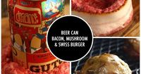 Recipe: Beer-Can Bacon Mushroom Swiss Burger with step-by-step photos and directions. #beercanburger