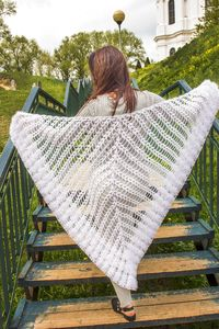 White bridal wrap, as crochet wedding gift for the bride from mother, winter warm bridal shrug for woman plus size. Plus size wedding cape $69.00