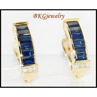 Jewelry Blue Sapphire 18K Yellow Gold Diamond Earrings [E0018]