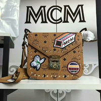 MCM Small Patricia Victory Patch Visetos Shoulder Bag In Brown