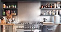 stainless/gray kitchen.--I love this kitchen, although I would never use that much stainless (especially because you can't use magnets on it! But I like the grey tones--not as hard to clean as white, but still gives a clean, warm, practical feel t...