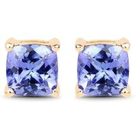 Ethically Mined Natural 1.7CT Cushion Cut Tanzanite Stud Earrings 14K Yellow Gold $255.00