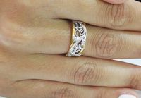 18K Leaves Wedding Flower Band in Yellow Gold, Six Variations of 1 and 2 Tone Solid Gold $950.00