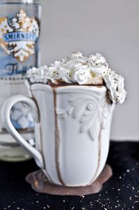 marshmallow vodka, whipped cream vodka and milk chocolate.