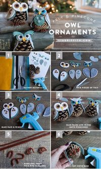 Make your own pine cone owl ornaments! Follow our simple step-by-step tutorial and download our templates for holiday fun for the whole family...