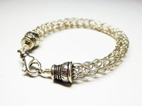 Sterling Silver Rope Bracelet - Braided Wire Cord - Wire Rope Chain Signed 925 - Modernist Vintage $36.00