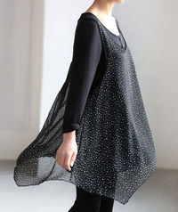 Spring cotton Double layer dress/ black Bottoming shirt/ long sleeved gown