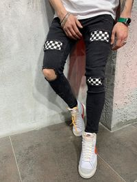 MENS STREET STYLE CHEQUERED JEANS 4631 $84.00