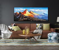 Mountains wall art painting on canvas Original art Abstract acrylic blue art Modern landscape Wall Pictures home decor cuadros abstractos $298.75