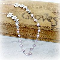 Lavender Orchid Necklace, Floral Pearl Jewelry, Bridesmaid Gift $42.00