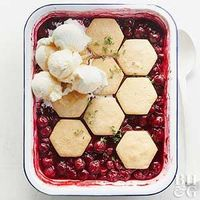 For an eye-catching twist on cherry crisp, top baked cherries with fresh honey-thyme cookies in a honeycomb pattern.