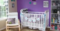 Chevron Nursery - Purple White Girl Baby Room Paint: Behr Orchid Blush & Zigzag Curtains from Urban Outfitters