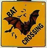 Bat Crossing Sign- this would go well with my Wino Crossing and Tractor Crossing signs :-P