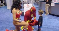 At Comic Con a little boy had lost his dad in the crowd, and was scared until he saw the Flash and Wonder Woman. He went up to the Flash to ask for help, because he knows him. Adorable.