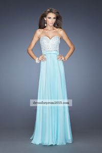 2015 Strapless Light Mint Long Prom Gown Online Sale
