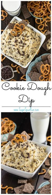 Easy cookie dough dip that tastes just like real cookie dough, made without eggs and made with no cream cheese.