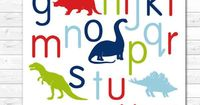 Alphabet Poster Dinosaur Nursery Art Children's Art by AlleyKids