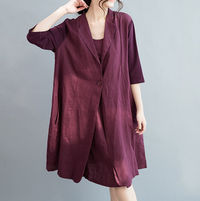 Women Summer Clothing/ Dark Blue/ Red wine large size linen dress