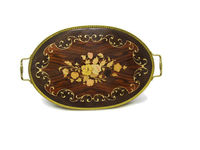 Large Marquetry Inlaid Wood & Brass Serving Tray with Flowers - Vintage Mid Century - Made in Italy - Mad Men Decor $89.99