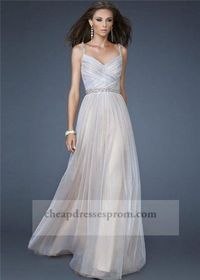 Long White Beaded Eveng Gown With Two Straps 2014
