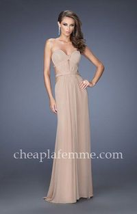 Gathered Illusion Criss Cross Band La Femme 20094 Prom Dresses Latte for Cheap