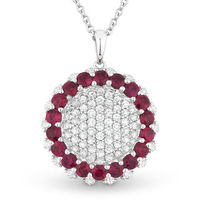 2.04ct Round Brilliant Cut Ruby & Diamond Cluster Circle Pendant in 18k White Gold w/ 14k Chain Necklace