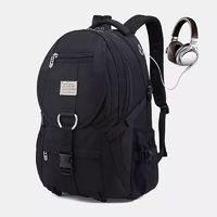Men Large Capacity Fashion Backpack With USB Charging Port and Headphone Port For Outdoor Travel