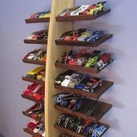 Model Cars on a Shoe Rack