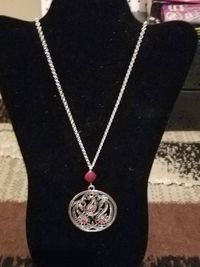 Paisley and Red Silver Pendant Necklace or Paisley and Blue Silver Pendant Necklace $5.00