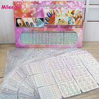 MILEEGIRL 96 Designs/Pack Square Hollow French Style Template Nail Stickers Irregular Grid Stencil 3D Creative Nail Art Design $19.49