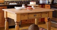 Solid Pine Freestanding Kitchen Island Made in USA, I would want it in Antique white, or sage :)