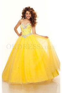 Sleeveless Ball Gown Floor-length Lace-up Prom Dresses