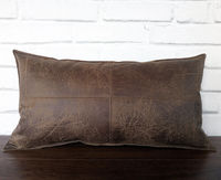 Natural brown&15 color optional piecewise square faux leather fabric lumbar pillow cover with decorative stitches/scandinavian homes-1pcs $20.00