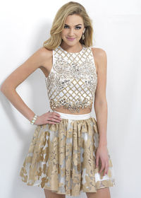 Glittered Gold Ivory Crystals Metallic Embossed Fabric Floral Dress