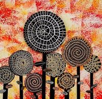 hundertwasser inspired flowers Try this with a monoprint.
