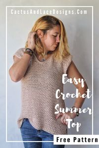 The Wren Tee is a quick and easy Crochet Summer Top FREE