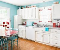 Aqua Blue with Red Accents in kitchen