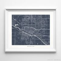 Merced, California Street Map Horizontal Print by Inkist Prints - Available at https://www.inkistprints.com