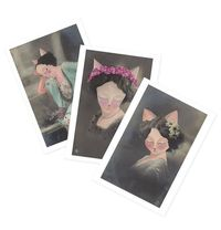 Cat Greetings Cards Glamour Puss set of 3 cards by ShopMissElla - vintage postcards oil painting