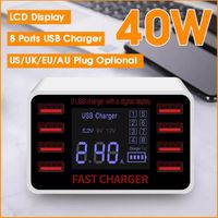 40W Smart 8-Port USB Adapter Desktop Phone Charging LCD Display Fast Charger