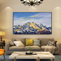 Snow mountains Peaks Abstract gold leaf paintings on canvas blue painting Heavy Texture extra large original art wall pictures Home Decor $148.75