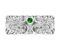 Filigree Wedding band Leaf ring Victorian Ring white Gold Floral Band 3 Emerald Top Quality Milgrain Ring 7mm Flower Band Eternity Ring $950.00