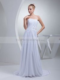 DRAPED STRAPLESS ONE SHOULDER CHIFFON WEDDING DRESS