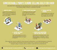 Let's know through this infographic that, what are the considerable things to keep in mind during selling old gold for cash. #sellgold #cashforgold #sellscrapgold