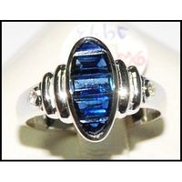 Blue Sapphire Natural 18K White Gold Diamond Ring Gemstone [RQ0039]
