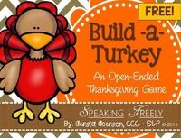 Free! Build A turkey, an open ended thanksgiving fun reinforcer for any activity. repostned by SOS Inc. Resources pinterest.com/sostherapy/.
