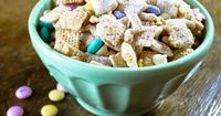 Easter Chex Mix. Full of peanut butter, white chocolate and M's! Would love to find this in my Easter basket!