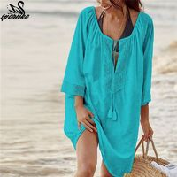 Bikini Cover Up Lace Hollow Crochet Tassel Swimsuit Beach Dress Women 2019 Summer Ladies Cover-Ups Bathing Suit Beach Wear Tunic $27.30