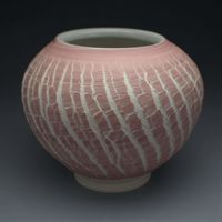Pink Crackle Handmade Porcelain Moon Vase $30.00